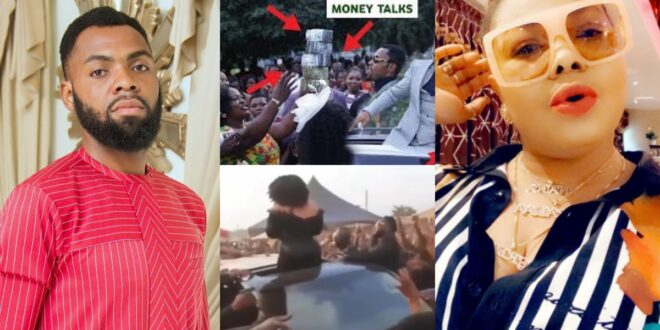 Rev. Obofour and Nana Agradaa clashes at a funeral, challenges as they spray money in the air - Video 1