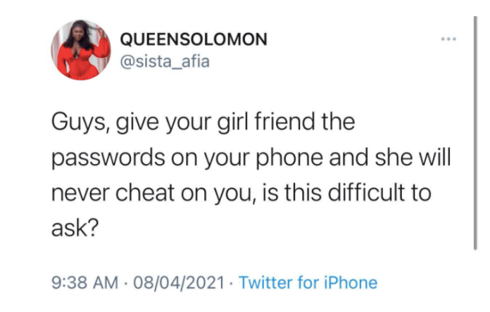 Give your phone passwords to your girlfriend and she will never cheat - Sista Afia tells Guys 2