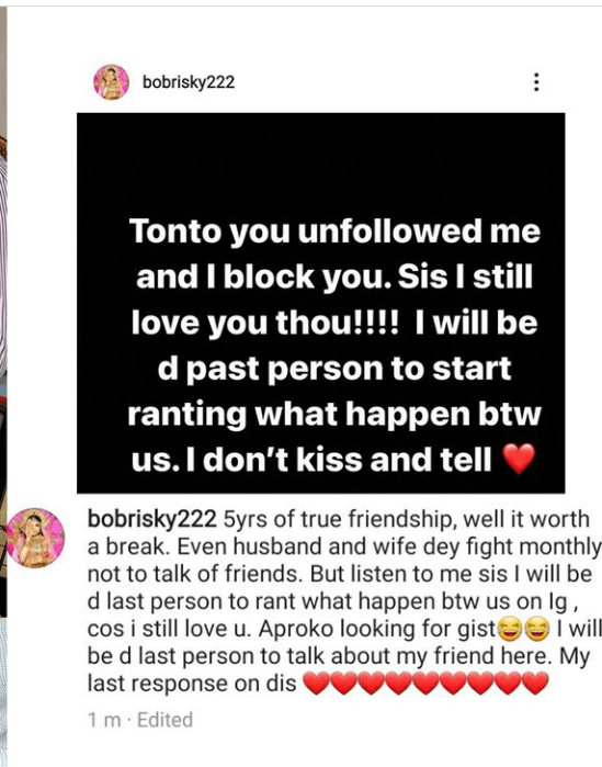 Tonto Dikeh unfollowed me and I blocked her - Bobrisky confirms their 5-year-old friendship has ended 3