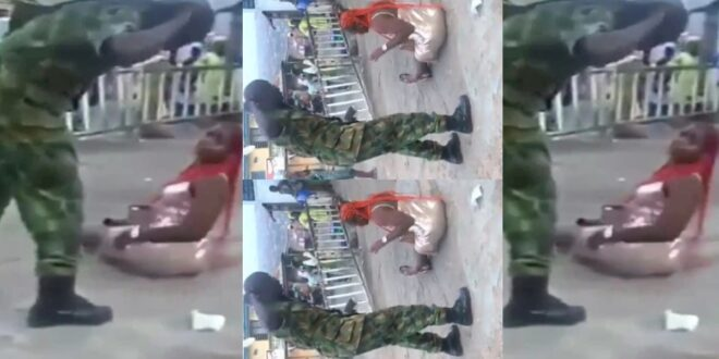 Slay Queen in trouble as a Military man flogs her with a belt in public - Video 1