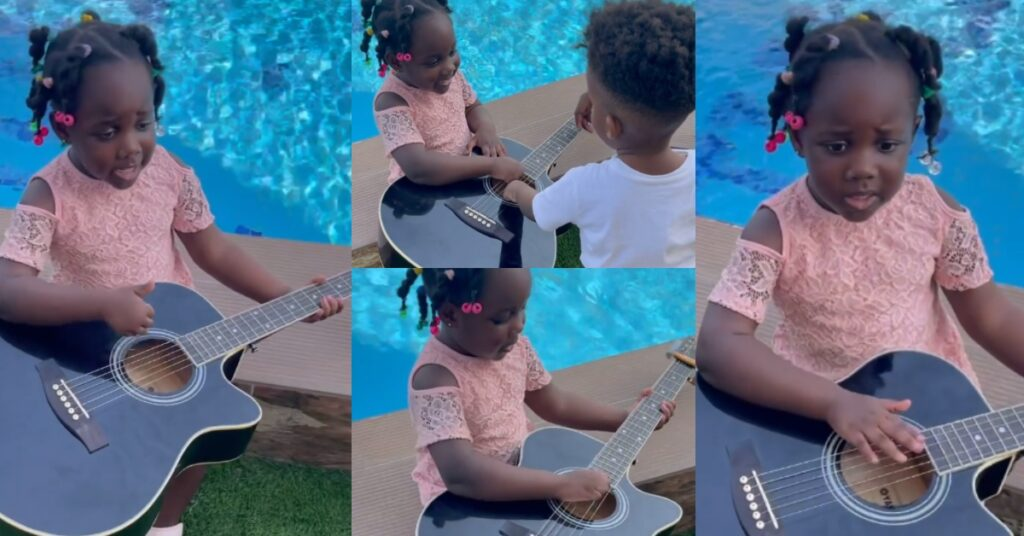 Stonebwoy's 3-year-old Daughter, Jidula Plays Guitar And Sings in a new video 2