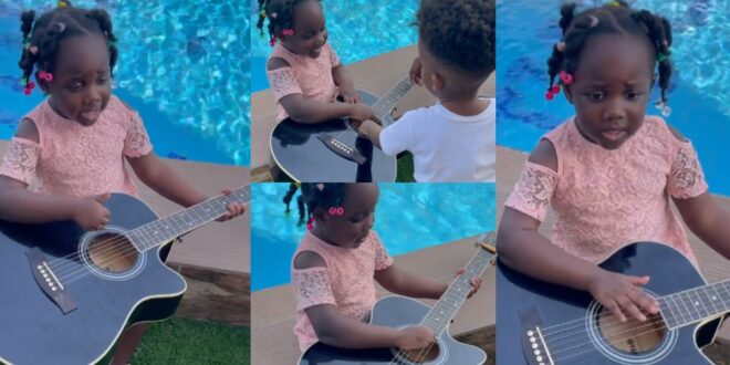 Stonebwoy's 3-year-old Daughter, Jidula Plays Guitar And Sings in a new video 1
