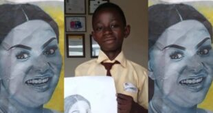 Talented JHS 3 boy beautifully draws Nana Ama Mcbrown like a Pro - Photos 3
