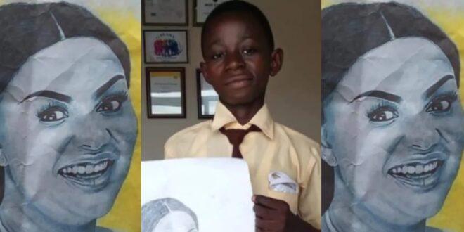 Talented JHS 3 boy beautifully draws Nana Ama Mcbrown like a Pro - Photos 1