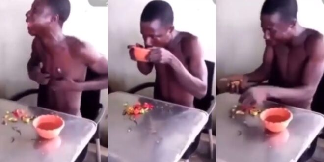 Thief made to chew hot pepper with hot water after he was caught (video) 1