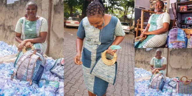 This talented woman makes clothes, bags, and wall clocks with thrown away pure water sachets (photos) 1
