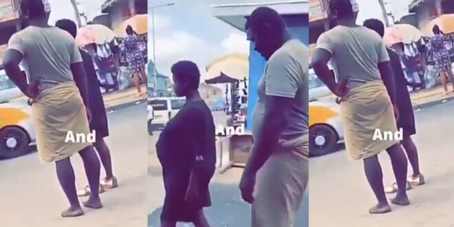 Two m@d lovers spotted walking on the streets with the lady pregnant (video) 1