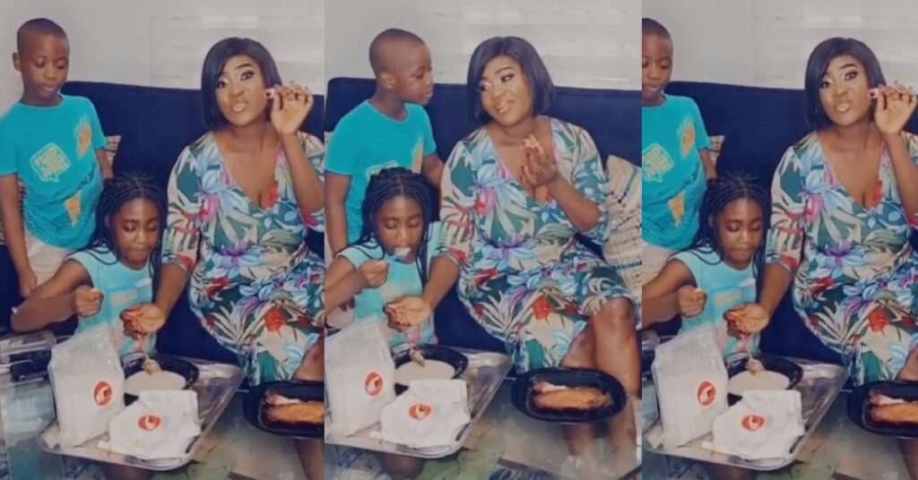 Watch video as Mercy Johnson and her kids drink gari with smoked turkey 2