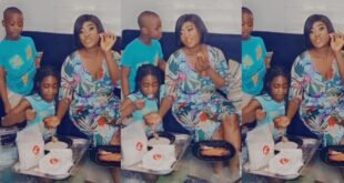 Watch video as Mercy Johnson and her kids drink gari with smoked turkey 30