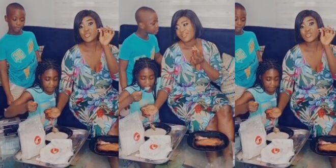 Watch video as Mercy Johnson and her kids drink gari with smoked turkey 1