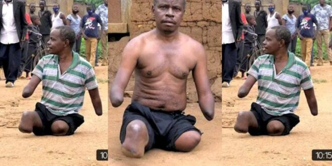Video: My wife left me with our 7 children after I lose my legs and hands - Man shares sad story 1