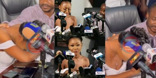 Watch the sad moment Akuapem Poloo cried like a baby during her press conference - Video 1