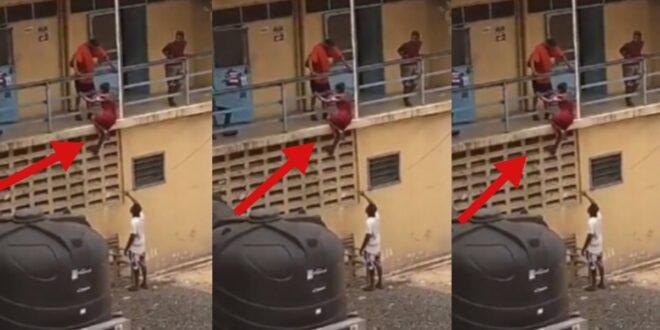 Watch video as lady sh0ckingly climbs boys hostel to meet her boyfriend 1