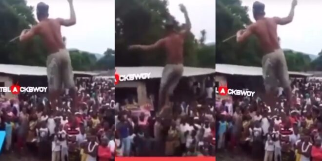 Wonders !!! Juju Man walks and dances in the air in the presence of a huge crowd (video) 1