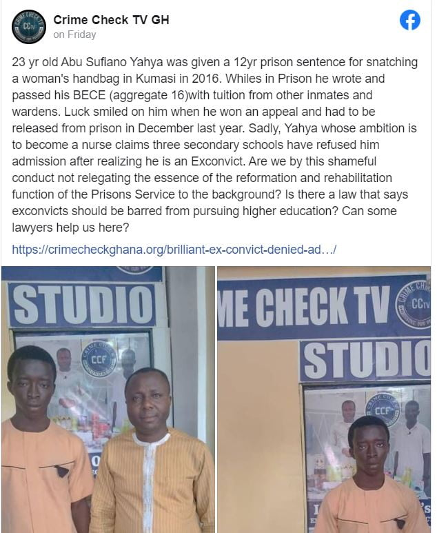 3 Senior high school denies admission to man who had aggregate 16 because he was an ex-convict 2