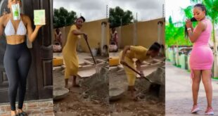 Akuapem Poloo seen mixing mortar and doing construction work says she doesn't give small money chance. 16