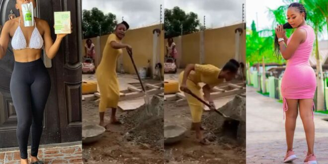 Akuapem Poloo seen mixing mortar and doing construction work says she doesn't give small money chance. 1
