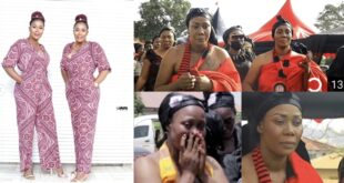 Kumawood actress Borga Sylvia and her twin sister in tears as they bury their mother. 14