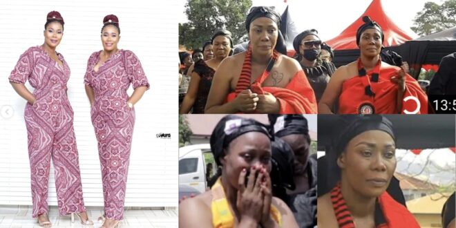 Kumawood actress Borga Sylvia and her twin sister in tears as they bury their mother. 1