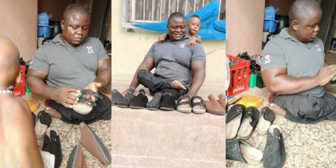 Crippled man refuses to beg for a living, makes shoes to feed himself and his family. (photos) 1