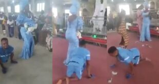 Disable man and his wife dance and give thanks to God for blessing them with a baby boy (video) 100
