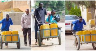 Man with only one hand pushes 10 jerrican water with wheelbarrow every day to make ends meet. 9