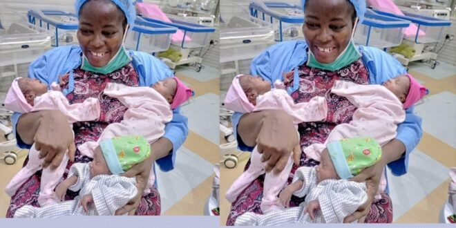After 11 years of marriage without a child, she finally gave birth to triplets. 1