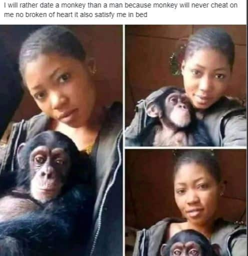 Photos: I will rather date a monkey than a man - Lady falls for a monkey after several broken hearts 3
