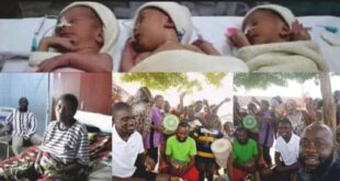A whole community jubilate for 55 years old woman without a child but gave birth to triplets yesterday. 67