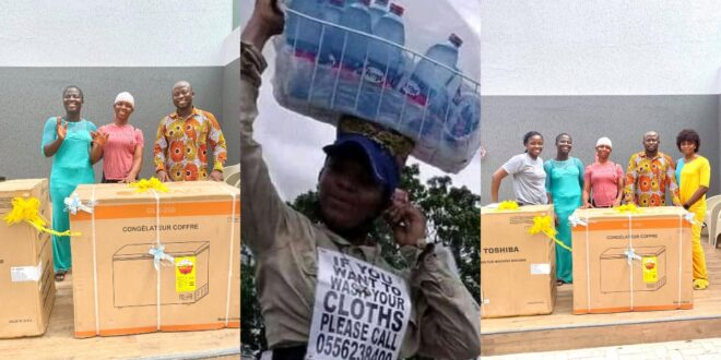 refrigerator, washing machine, and money has been given to viral pure water seller by a Business man (photos) 1