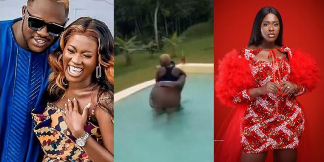 Medikal's wife, Fella Makafui displays her raw body in a pool - Video 1