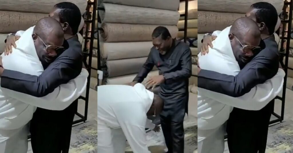 Watch the beautiful moment Don Jazzy went down to greet Nollywood actor Kanayo O. Kanayo for the first time - Video 1